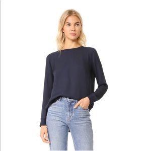 VINCE Silk Drapey Long Sleeve Navy Blouse Sz Small
